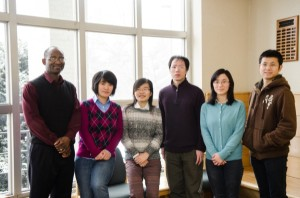 Pictured are (from left) Titus Awokuse, Zhiqi Zhang, Ruizhi Xie, Yue Tan, Yan Hu and Du Zhang.